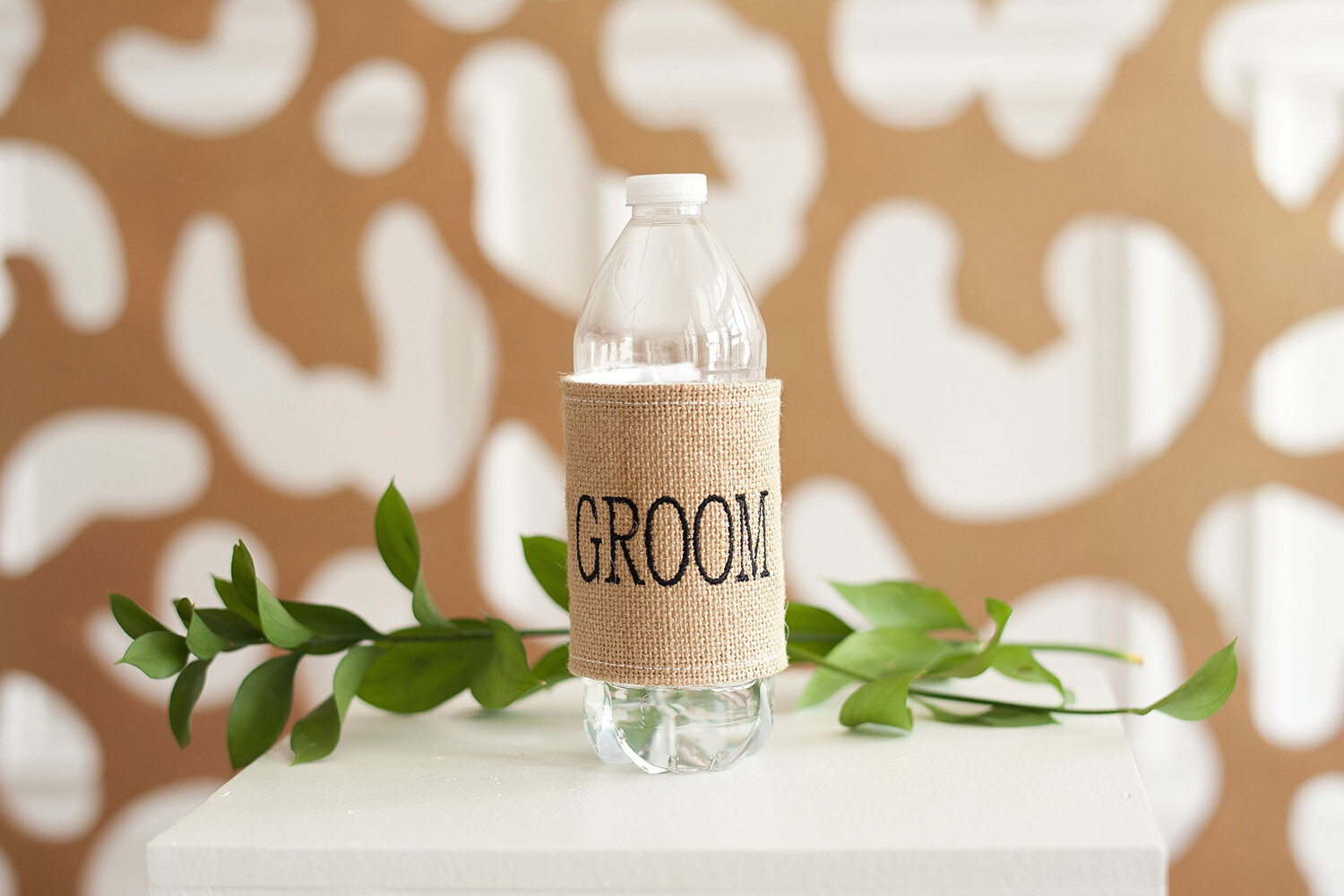 Burlap Drink Wrap Embroidered Groom In Black Thread