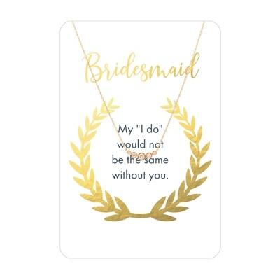 Gold Five Stone CZ Bridesmaid Necklace Card