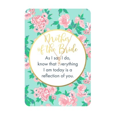 Gold Pearl CZ Mother Of The Bride Necklace Card