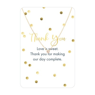 Gold CZ Thank You Necklace Card