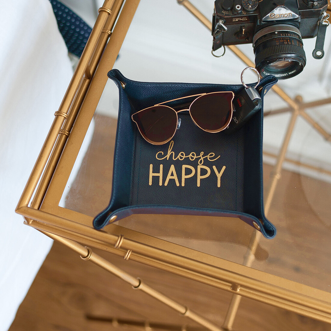 Navy Choose Happy Trinket Tray