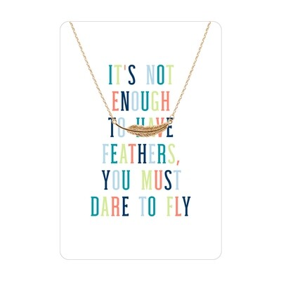 Gold Feather Dare To Fly Necklace Card