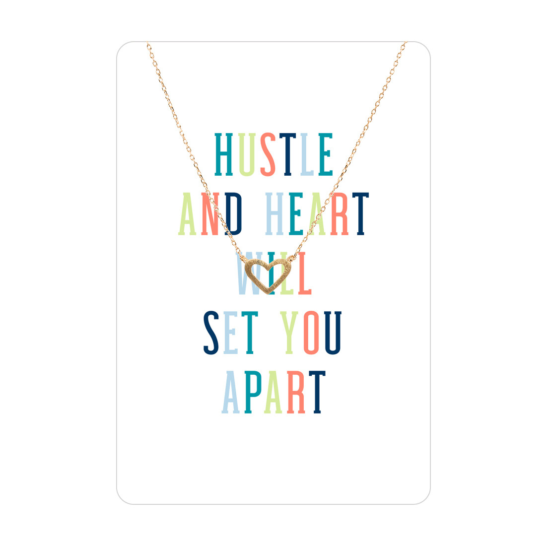 Gold Heart Hustle & Heart Will Set You Apart Necklace Card