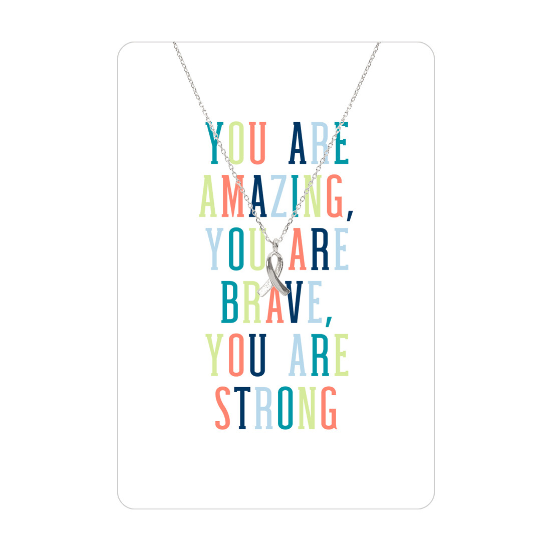 Silver You Are Amazing Ribbon Necklace Card