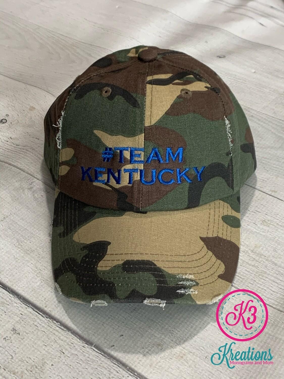 #TeamKentucky Distressed Camo Hat