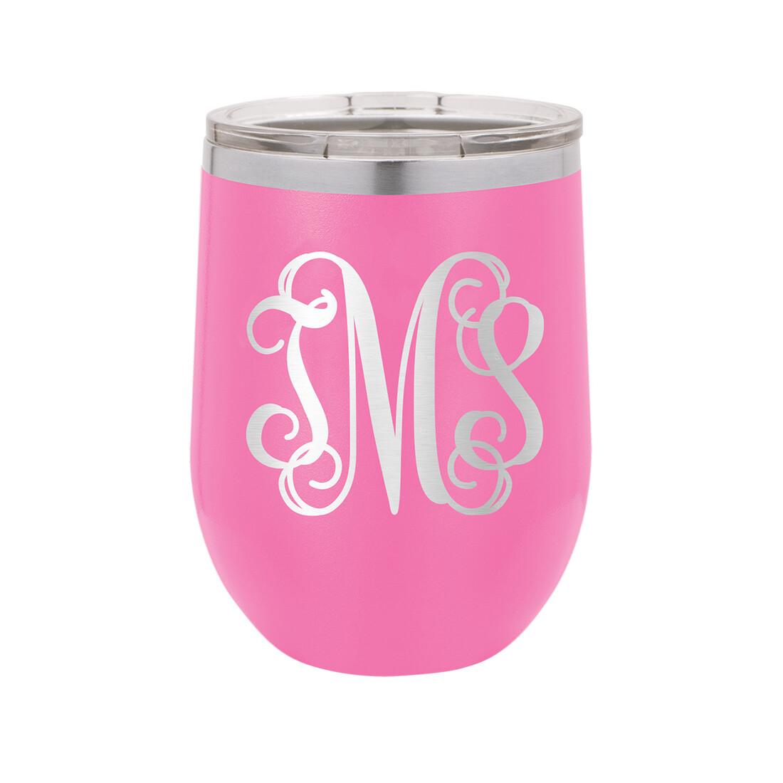 Pink Vine Monogram Tumbler