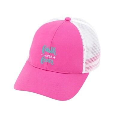 Faith Over Fear Hot Pink Trucker Hat