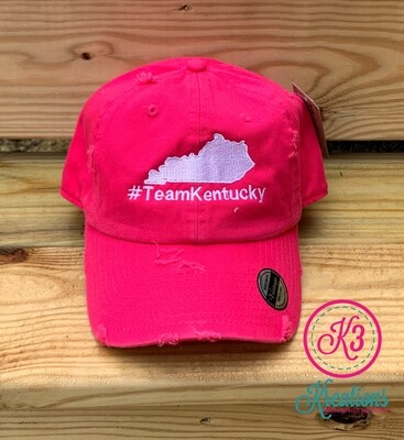 #TeamKentucky State Distressed Ball Cap