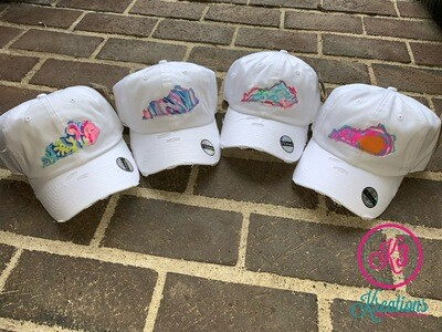 Kentucky State Lilly Print Distressed Cap