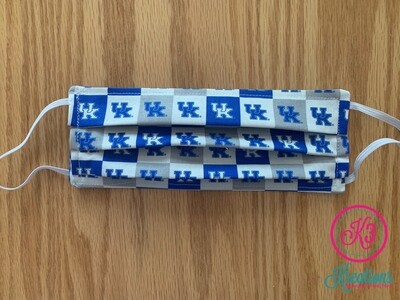 UK Wildcats Checkerboard Cotton Fabric Face Mask