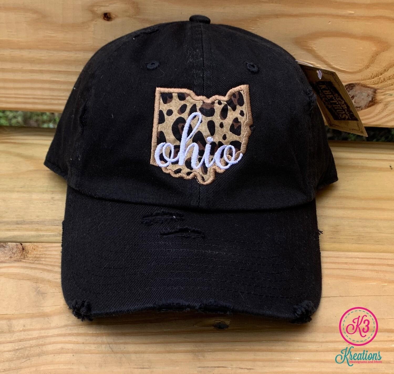State Leopard Applique Distressed Cap