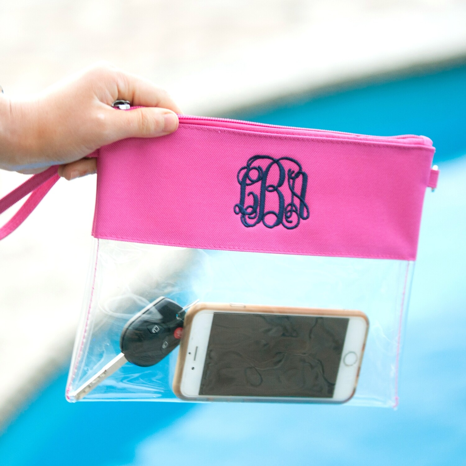 Hot Pink Clear Zip Pouch