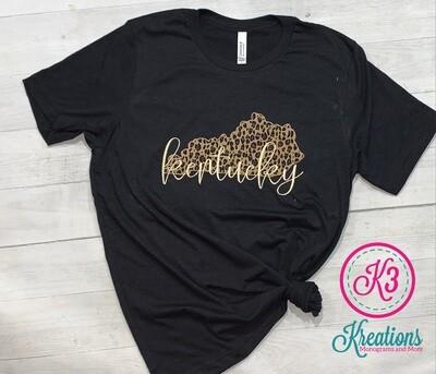 Leopard Print Kentucky State Short Sleeve Tri-Blend Tee
