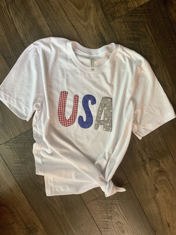 Gingham, Dots & Stars USA White Short Sleeve Bella + Canvas Tee