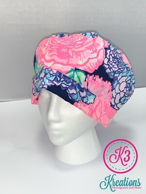 Navy & Pink Floral Lilly Print Cotton Fabric Scrub Cap