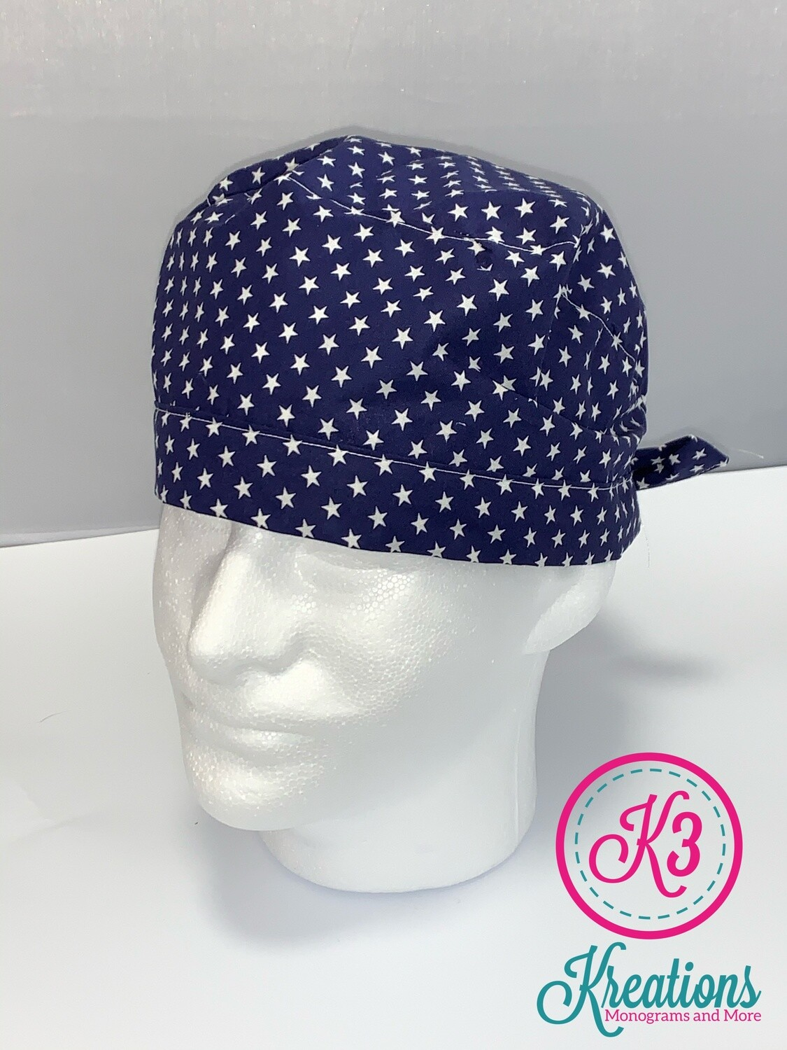 Navy & White Stars Cotton Fabric Scrub Cap