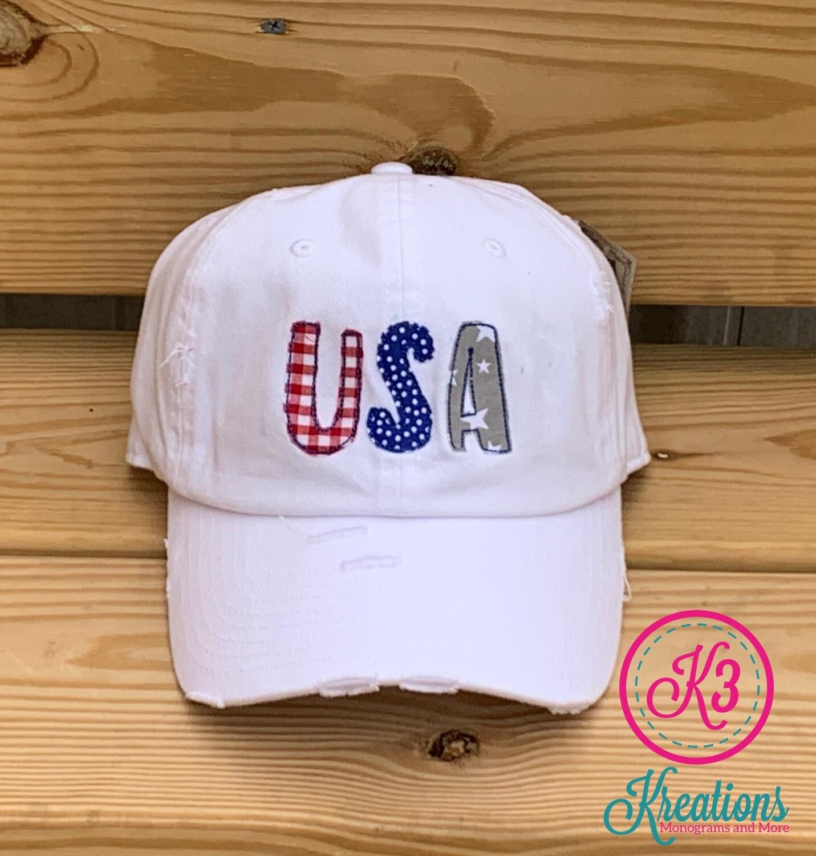 USA Gingham, Dots & Stars White Distressed Cap