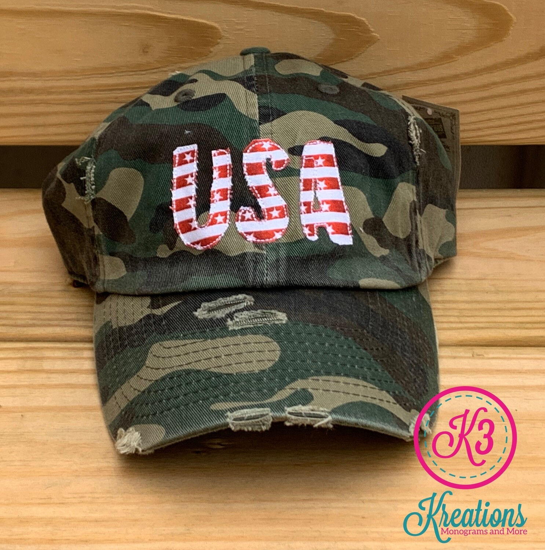 USA Stars & Stripes Camouflage Distressed Cap