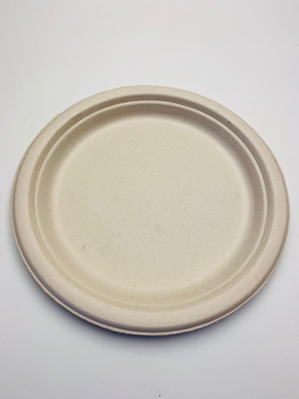 Bagasse bord bruin rond 18cm, verpakt per 500 stuks