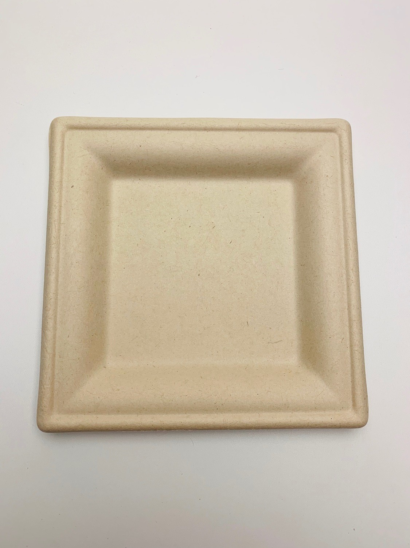 Bagasse bord bruin vierkant 16x16cm, verpakt per 500 stuks