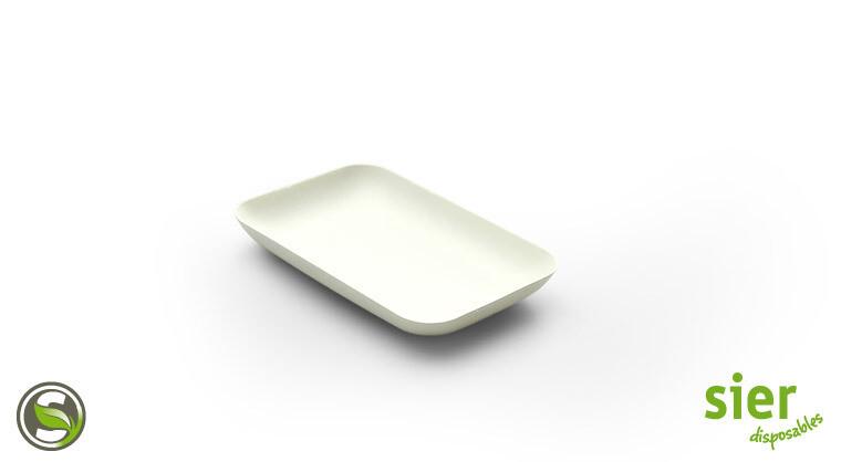 Bagastro bord rechthoekig 12x8cm, 480 stuks