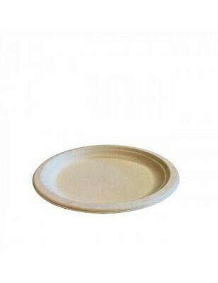 Bagasse bord 23cm Ø bruin Verpakt per 500 stuks