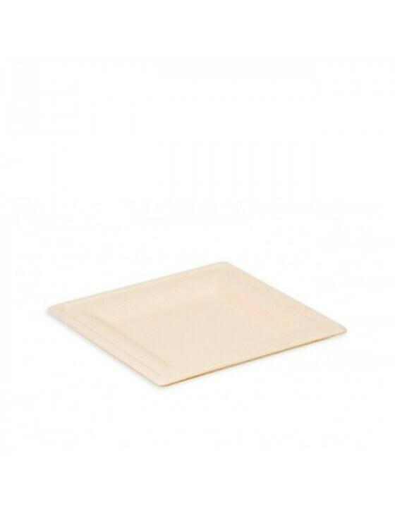 """Bagasse  bord """"Karo"""" 160x160x15mm bruin Verpakt per 50 stuks"""