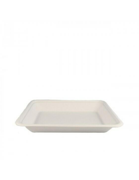 Bagasse tray 196x147x27mm Verpakt per 500 stuks