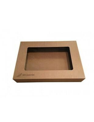 Kraft cateringdoos met PLA venster 46x32x8cm Verpakt per 10 stuks