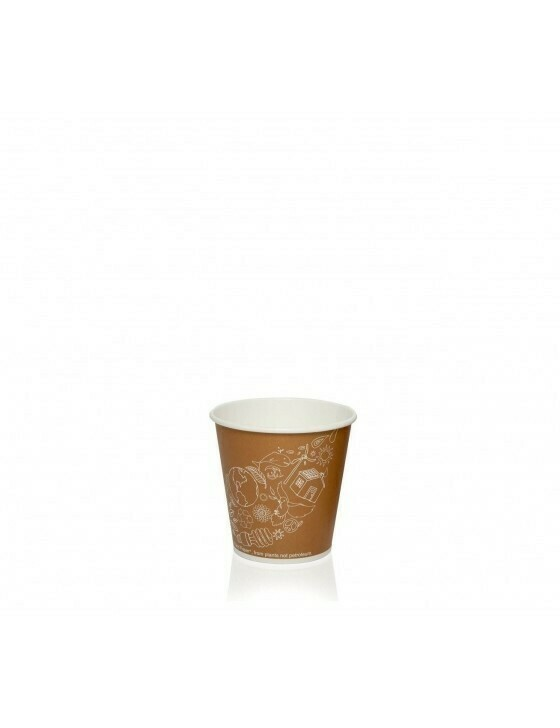 Karton/PLA koffiebeker 2oz/60ml/50mm Ø Leaf Verpakt per 50 stuks