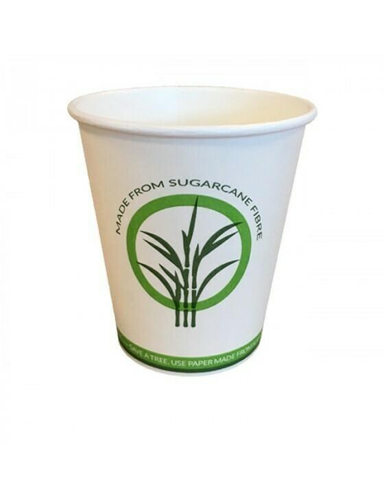 Bagasse / PLA kahvikuppi 12oz / 360ml / 90mm Ø Pakattu 50 kappaletta kohti