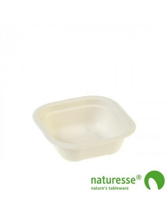 Bagasse maaltijdbak wit 350ml/130x130x59mm BIO-Laminated, verpakt per 500 stuks