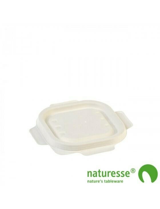 Bagasse deksel wit voor maaltijdbak 240ml/350ml Verpakt per 500 stuks