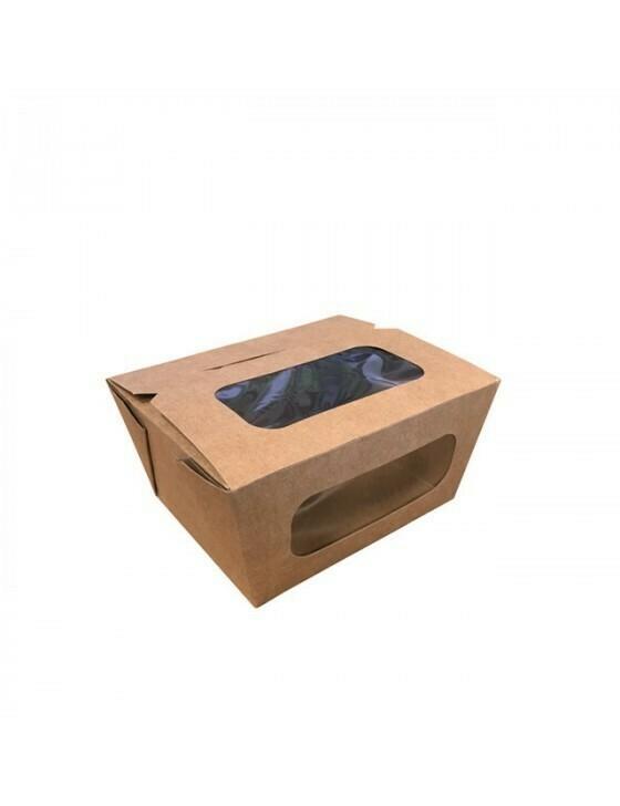 FSC® kraft/PLA coated lunchbox+venster 110x90x63mm Verpakt per 450 stuks