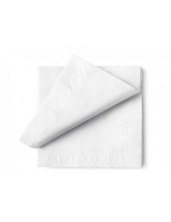 Servet ecolabel 33x33cm ¼ vouw 2-laags wit Verpakt per 100 stuk