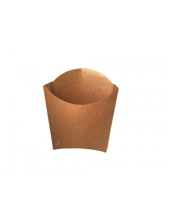 FSC® kraft/PLA frites scoop cup S 83x130x125mm Verpakt per 100 stuks