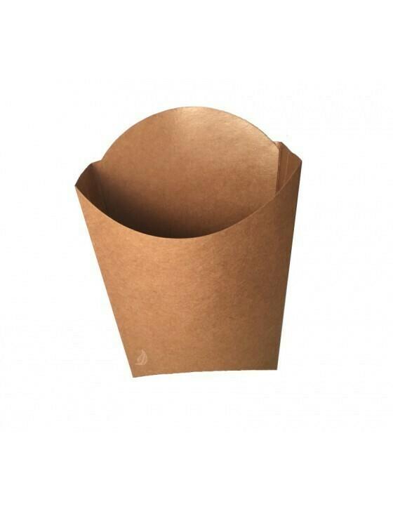 FSC® kraft/PLA frites scoop cup M 90x132x130mm Verpakt per 100 stuks