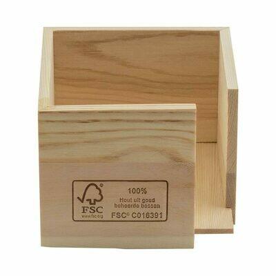 FSC® houten servethouder voor 20x20cm ¼ vouw Verpakt per 24 stuks