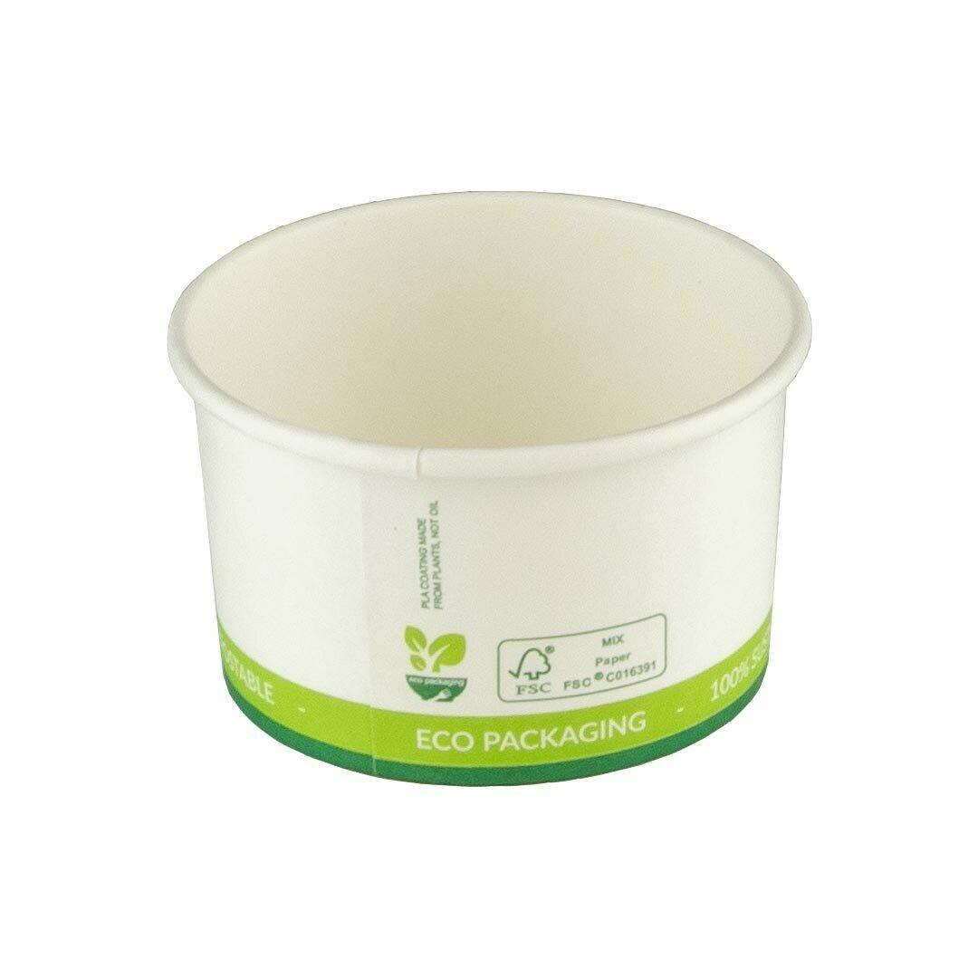 FSC® karton / PLA fagylalt csésze 3oz / 90ml / 71mm Ø x 40mm 50 darabokra csomagolva