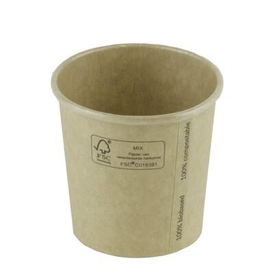 FSC® kraft/PLA beker 4oz/120ml/62mm Ø Verpakt per 2000 stuks