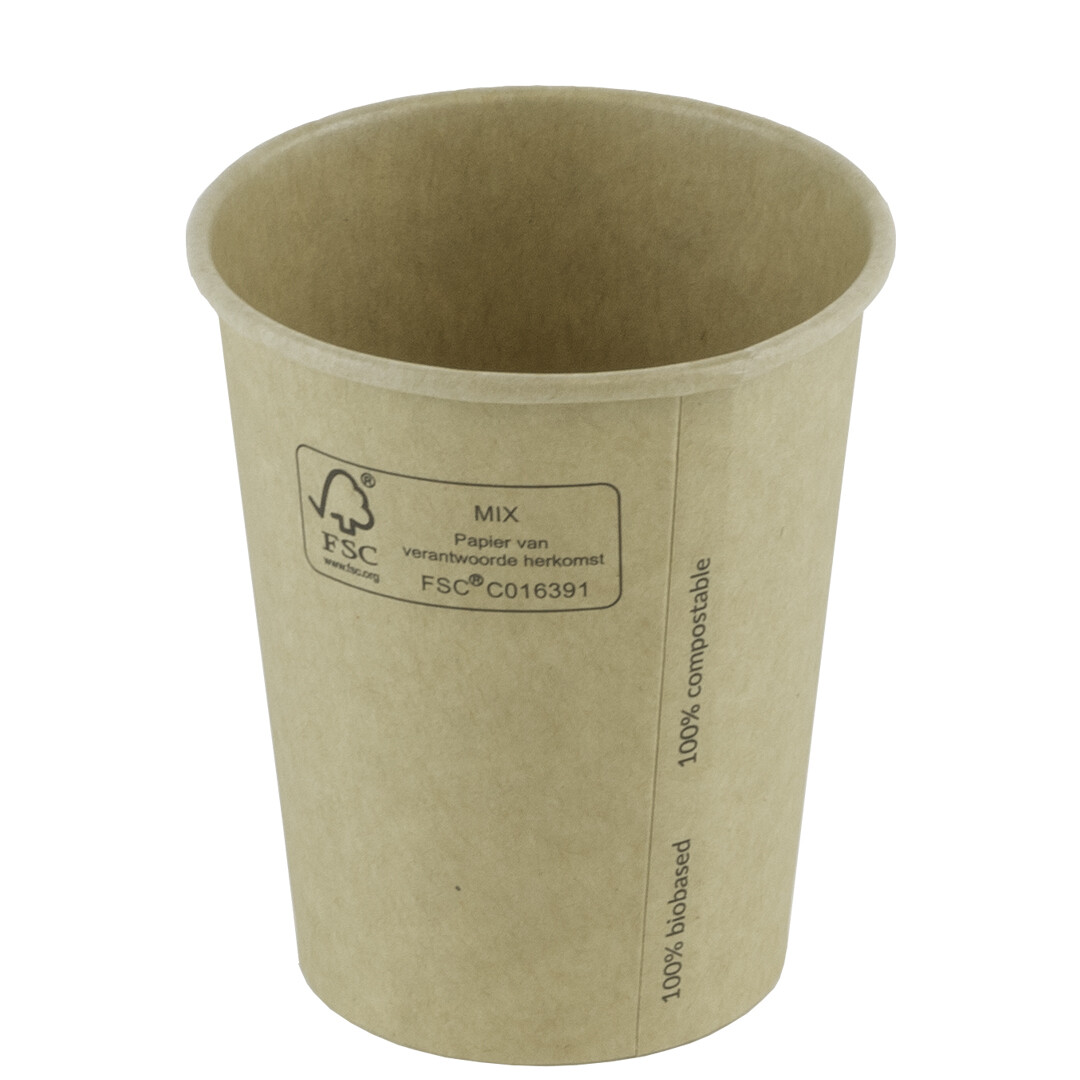 FSC® kraft/PLA koffiebeker 7oz/210ml/73mm Ø Verpakt per 50 stuks