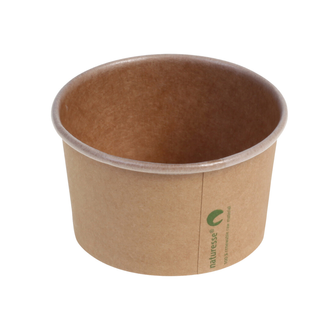 Kraft/PLA foodcontainer 12oz/360ml/105mm Ø x 61mm Verpakt per 1000 stuks