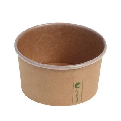 Kraft/PLA foodcontainer 5oz/150ml/85mm Ø x 51mm Verpakt per 1000 stuks
