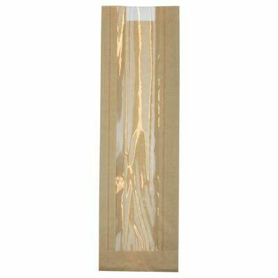 FSC® kraft/PLA vensterzak 9,5x32,5x(2x3)cm Verpakt per 1000 stuks