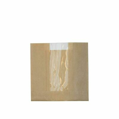 FSC® Kraft/PLA vensterzak 14,5x16x(2x3,5)cm Verpakt per 1000 stuks