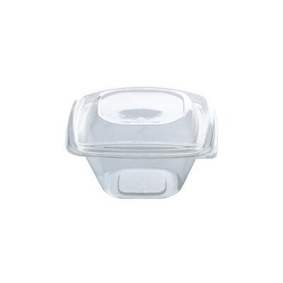 PLA saladebakje + deksel transparant 360ml, verpakt per 40 stuks