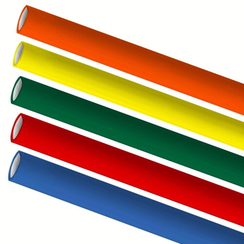 Premium papieren rietjes 10x240mm 5 kleuren mix assortiment verpakt per 250 stuks