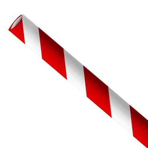 """Papieren rietjes 8x240mm rood/wit """"swirl"""", verpakt per 5000 stuks"""