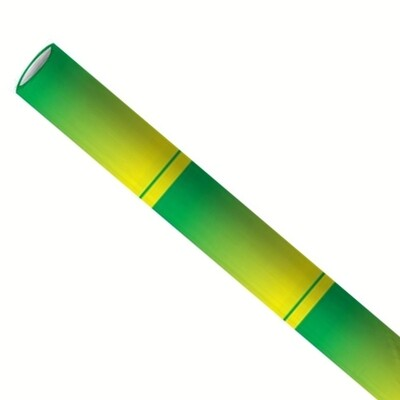 Pajitas de papel 6x200mm verde bambú, embaladas por 5000 piezas