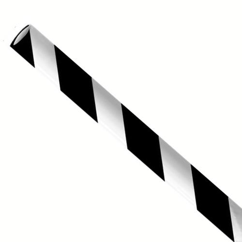 """Papieren rietjes 6x197mm zwart/wit """"swirl"""", verpakt per 250 stuks"""